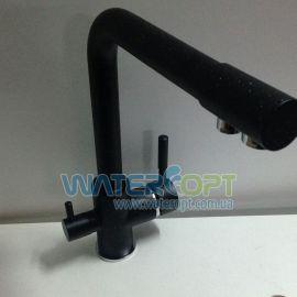 Смеситель для кухни с фильтром черный мрамор Potato P4098-6