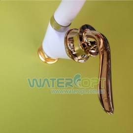 Смеситель для кухни белый с золотом Zerix Z45219-7