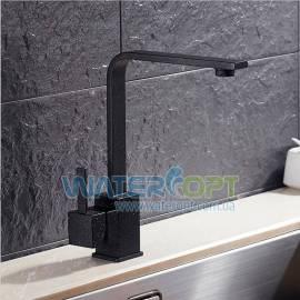 Смеситель для кухни черный мрамор KCASA Kitchen Sink