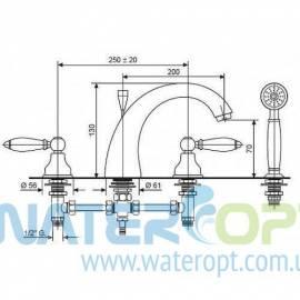 Смеситель на борт ванны хромового цвета  Emmevi Deco СR121120