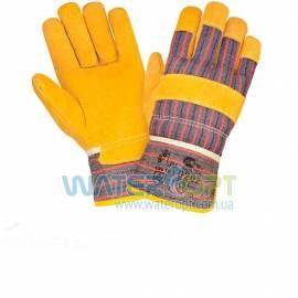 Перчатки комбинированные спилковые желтые