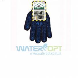 Перчатки Х/б Doloni ПВХ с рисунком черные