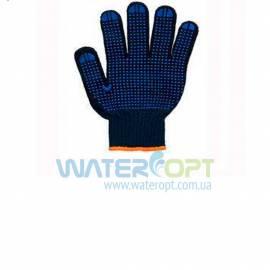 Перчатки рабочие 6 нитей c ПВХ-точкой черные Twist