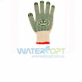 Защитные перчатки Алиско  Х/Б зелёная точка