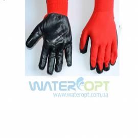 Рабочие перчатки из  полиэстера с нитрыловым покрытием (Стрейч Черный)