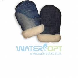 Джинсовые рукавицы рабочие с искусственным мехом