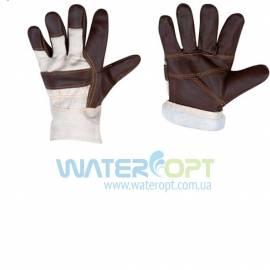 Утеплённые кожаные защитные перчатки