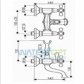 Смеситель для ванны бронза Emmevi DECO CLASSIC BR12011