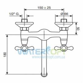 Смеситель для кухни настенный бронза EMMEVI DECO CLASSIC BR12005