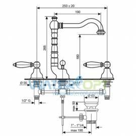 Смеситель для умывальника на три отверстия бронза EMMEVI DECO CERAMIC BR121643