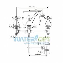 Смеситель для умывальника на три отверстия бронза EMMEVI DECO CLASSIC BR12033