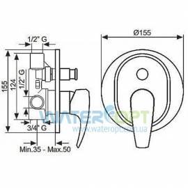 Смеситель для ванны скрытого монтажа бронза EMMEVI ANUBIS BR7019R