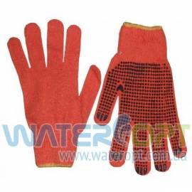 Перчатки рабочие ХБ вязанные с ПВХ точкой (оранжевые) 3 нити